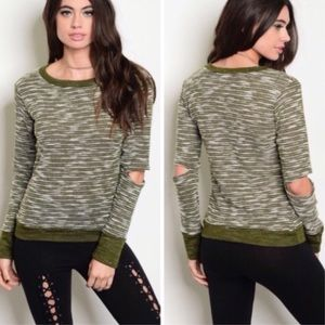 Sweaters - Olive Slit Elbow Knit Sweater